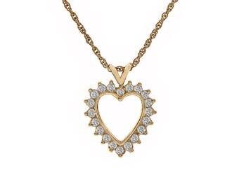 0.60 Carat Diamond Heart Pendant Necklace 14K Yellow Gold