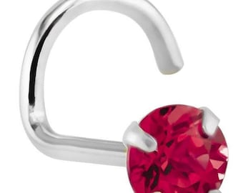 Ruby (July) - 14KT White Gold Nose Twist