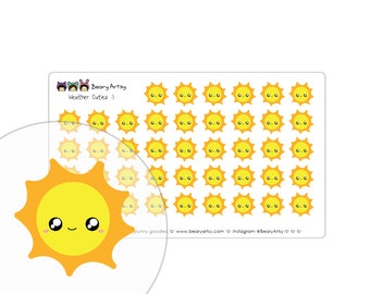 NEW   cute weather stickers - planner accessories - handmade - printed and cut - sunny, partly sunny, cloudy, rainy, snowy, windy - custom
