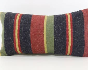 10x20 Anatolian Kilim Pillow Lumbar Kilim Pillow 10x20 Striped Kilim Pillow Boho Pillow Ethnic Pillow Cushion Cover SP2550-1240