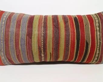 12x24 Decorative Kilim Pillow Boho Pillow 12x24 Turkish Kilim Pillow Handwoven Kilim Pillo Striped Kilim Pillow Cushion Cover SP3060-1468