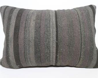 16x24 Turkish Striped Kilim Pillow Overdyed Kilim Pillow 16x24 Lumbar Kilim Pillow Throw Pillow Anatolian Kilim Pillow SP4060-1044