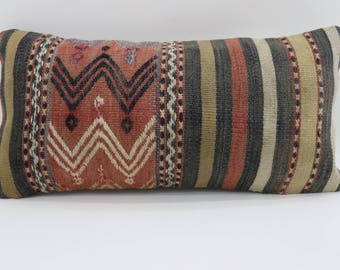 10x20 patterned kilim pillow striped kilim pillow vintage kilim pillow turkish pillow lumbar pillow ethnic pillow sofa pillow SP2550-1563