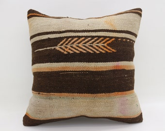 20x20 Kilim Pillow Covers Striped Pillow Large Turkish Kilim Pillow Orange Kilim Pillow Arrow Pillow Boho Cushion Cover Pillow  SP5050-2786