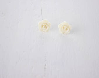 "Cream ""Rose"" Stud Earrings, Flower Earrings, Gifts for Her"
