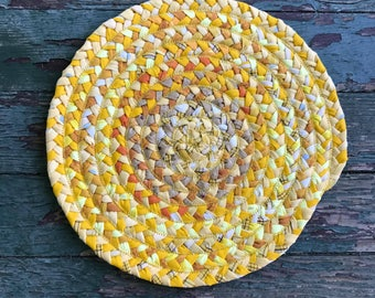 """11.5"""" gold braided mat made from 100% reclaimed fabric"""