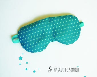 sleeping mask sleeping woman travel star turquoise