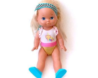Vintage Triple Change Li'l Miss Make Up Doll Mattel 1988 Bodysuit Shoes Headband Makeup Dolly Near Complete 80s Retro Toys Poseable Kawaii