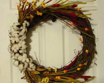 Clearance!!! | Thanksgiving Wreath | Fall Wreath | Autumn Decor | Fall decor, home decor, grapevine, cotton, wildflowers, white, Decoration