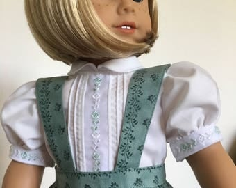 Simple Skirt With Embroidered Heirloom  Blouse  fits American Girl Dolls