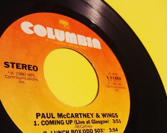 "PAUL MCCARTNEY & WINGS: Coming Up (Live At Glasgow)/Lunch Box/Odd Sox - 7"" vinyl record album single Beatles music classic rock 70s 80s '80s"