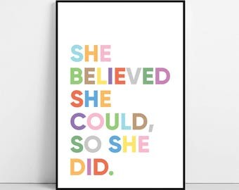 She Believed She Could So She Did Print, Inspirational Wall Art, Motivational Poster, Typography Quote Printable Decor, Digital Download
