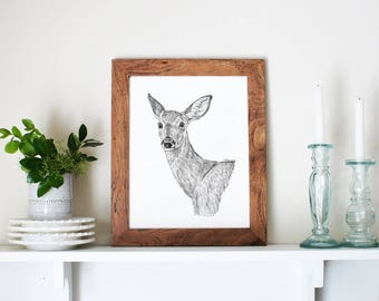 Woodland Deer Art, Deer Gift, Deer Artwork, Deer Illustration, Deer Head Art, Deer Woodland Art, Woodland Deer, Deer Print, Deer Drawing