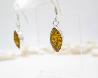 Marquise Baltic Amber Sterling Silver Earrings