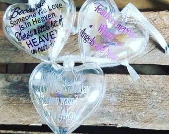 Memorial bauble, christmas tree decoration, christmas bauble, christmas tree bauble, heart bauble,feathered heart bauble, BUY 3 GET 1 FREE
