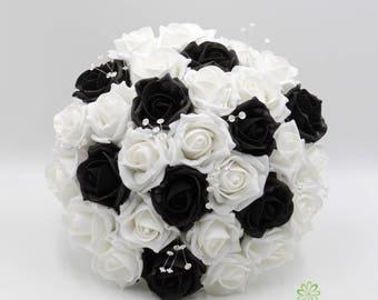Artificial Wedding Flowers Black White Rose Brides Bouquet Posy 1
