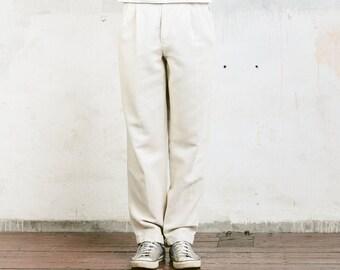 Vintage Linen Pants . Vintage Mens Linen Trousers Beige Summer Pants Retro Oldschool Trousers Mens 90s Pants Normcore . size Medium