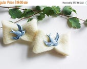 BLACK FRIDAY SALE Bird Felt Hair Clip Set - Little Girl Hair Bow - Pigtail Bows - Blissful Bluebirds Set