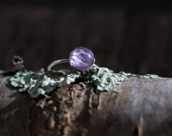 Purple Hydrangea Ring with eco resin, sterling silver, made in ireland, botanical ring, anniversary, eco-friendly, minimalist ring, delicate