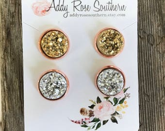 12mm druzy earring set, rose gold druzy earrings, gold druzy earrings, bridesmaid druzy earrings, druzy earrings