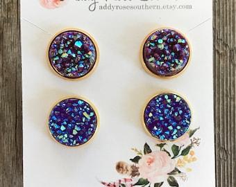 12mm maroon and purple druzy earrings, maroon druzy, purple druzy, druzy earrings, gold druzy earrings