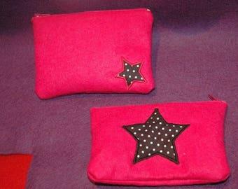 Pouch / clutch / wallet in pink felt stars