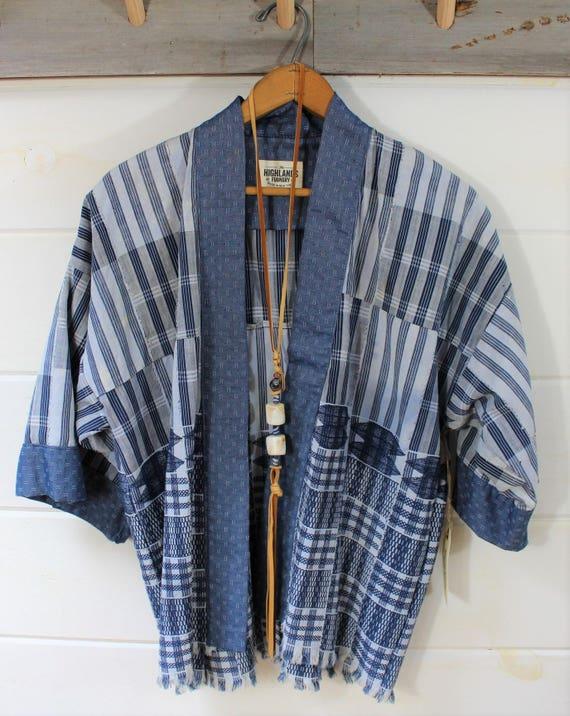 Indigo Mud Cloth Kimono