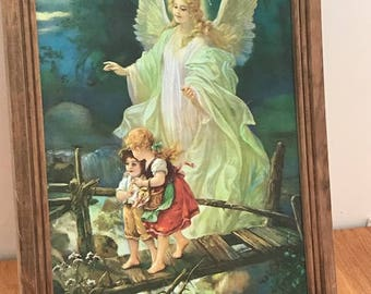 """Guardian Angel with Children Crossing the Bridge Famous Picture Wooden Framed 17 1/3""""x 13"""""""