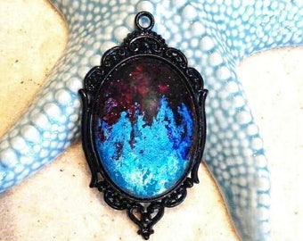 Cabochon 30X40mm pendant / purple red blue cosmic pendant/turquoise hand painted