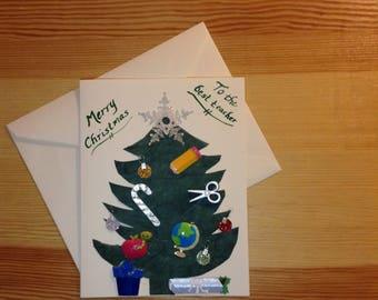 Teacher Christmas Card with School-themed Tree