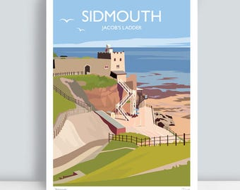 Sidmouth, Jacob's Ladder, Devon. HAND SIGNED Art Print/Travel Poster. Plus Free Postage!