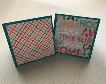 Mini Note Cards Set: 3x3 Cards; Happy Birthday Print; Gift Enclosure; Tag