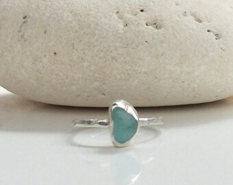 Turquoise Seaglass Ring, Sea Glass Ring, Turquoise Ring, Silver Ring, Seaglass Jewellery