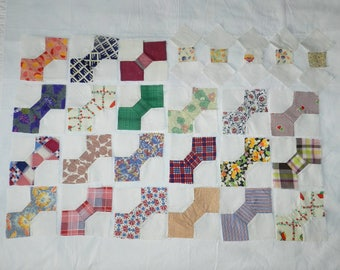"""21 Vintage 1940s Quilt Blocks and 5 Partial Blocks - Traditional """"Bow-Tie"""" Pattern - Great Vintage Fabrics"""