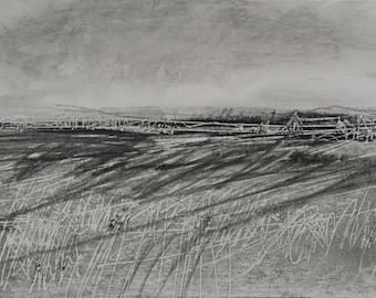 Ploughed fields, landscape, monochrome, nature, acrylic, china marker, graphite, fine art, Original Art Postcard 148, Yorkshire