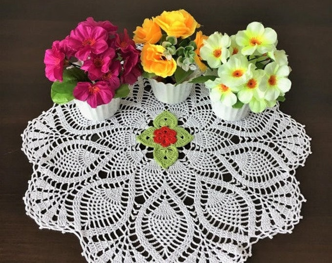 White doily knitted crochet laced doily crochet flower doily handmade decor white cotton napkins white crochet