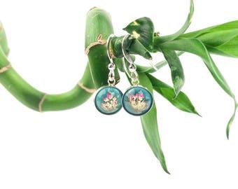 Little girl earrings, Small earrings with real flowers, Silver earrings pressed flowers, Mint green earrings, Dainty earrings with flowers