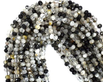 "4mm faceted black rutilated quartz rondelle beads 16"" strand 39318"