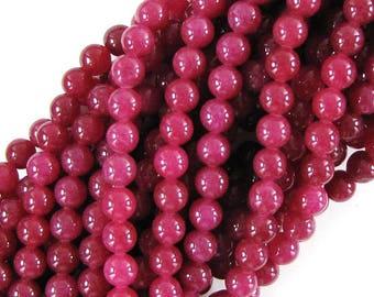"""6mm ruby red jade round beads 16"""" strand 19186"""