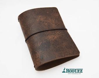 A6 Traveler's notebook brown vintage leather - midori like- fauxdori