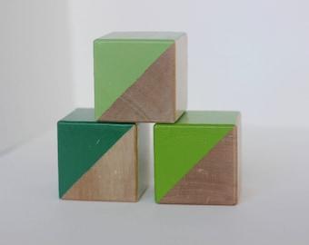 3 Green Painted Wooden Blocks