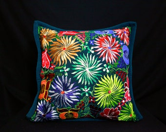 Mexican Embroidered  Forest Green Pillow Cover