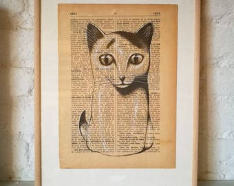 CATS No. 10. Printed drawing on recycled paper with highlights in black ink. 9,5x6,8in. Gift, Christmas, la petite illustration, cats