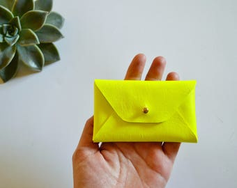 Fluo yellow leather card case / Yellow fluorescent envelope card holder / Leather business card case / Genuine leather