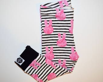 Pink Bunnies on Stripes - Baby Leggings, Toddler Leggings, Easter