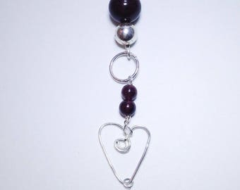 Garnet agate heart wire necklace 925 sterling silver