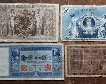 Lot of 4 Old Germany 100 Mark Banknote 1910,Old German Banknote 100 mark 1908,20 Mark 1918
