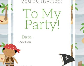 Pirate Birthday Invite , birthday party invite