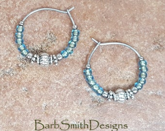 "Beaded Bronze-Lined Aqua Turquoise Silver Stainless Steel Hoop Earrings, Small 3/4"" Diameter"