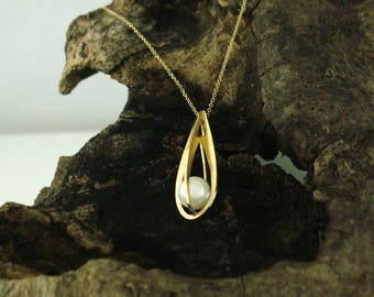 Sterling Silver,Drop,Pendant k14, Gold plated,Gold,Womens,Handmade, Pearl